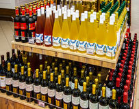 Free Shelves Of Supermarket With Wine. Royalty Free Stock Photos - 89963258