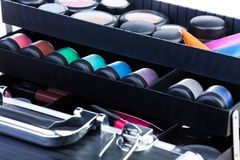 Shelves in open makeup case Royalty Free Stock Image