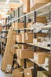 Shelves with parcels. Royalty Free Stock Photo
