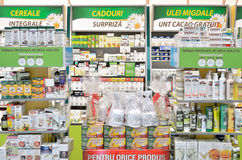 Naturist pharmacy shop interior. Shelves with pharmaceutical naturist products are displayed inside a pharmacy drug store stock photos