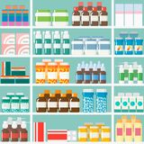 Shelves in the pharmacy with medications. Seamlessly vector flat vector illustration