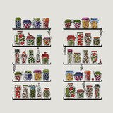 Shelves with pickle jars for your design Stock Images