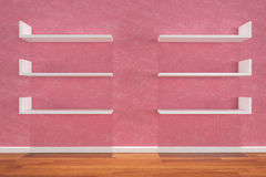 Shelves on pink wall Stock Photos