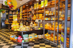 Shelves with products in cheese store in Zandvoort Stock Photography