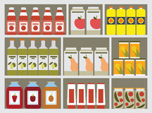 Shelves with products Royalty Free Stock Images