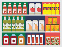 Shelves with products Royalty Free Stock Image