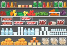 Shelves with products. vector food supermarket. Background stock illustration