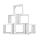 Shelves. Pyramid from boxes Royalty Free Stock Photo