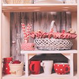 Shelves in the rack Stock Images