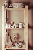 Shelves in the rack royalty free stock photos