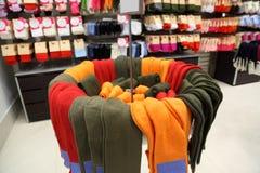 Shelves and racks with socks stock image