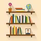 Shelves reading books, picture, globe and flower. Brown bookshelf. Shelves with colorful books in flat style. Bookshelf reading books, picture and globe with Royalty Free Stock Photos