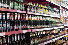 Shelves with Russian beer in ordinary East European deli Royalty Free Stock Images