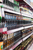 Shelves with Russian beer in ordinary East European deli Stock Photos