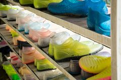 Shelves with shoes for rafting Royalty Free Stock Photo