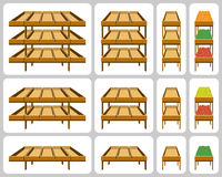 Shelves for shops. Set of Shelves for shops. Vector Illustration Stock Photo