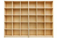 Shelves, Small wooden box with cells Royalty Free Stock Photography