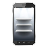 Shelves in a smartphone Royalty Free Stock Photography