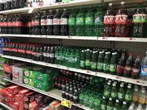 Shelves of soft drinks in grocery store. Royalty Free Stock Images