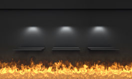 Shelves and spotlights for exhibit with flame Stock Image