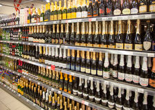 Shelves of supermarket with alcoholic drinks. Stock Photography