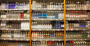 Shelves of supermarket with alcoholic drinks Royalty Free Stock Images