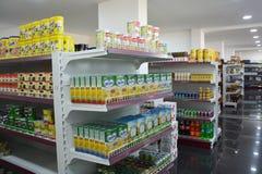 Shelves of supermarket Stock Photo