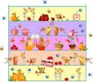 Shelves with teapots, teacups, flowers, fruits, berries, cakes and birds Royalty Free Stock Images