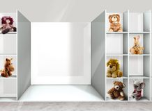 Shelves and toys. Toys on the shelves in the department store Royalty Free Stock Photos