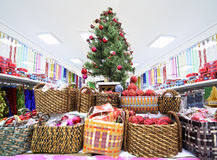 Shelves with variety of Christmas-tree decorations Stock Images