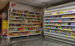 Shelves with a variety of products in the supermarket Royalty Free Stock Photography