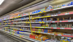 Shelves with a variety of products in the supermarket Royalty Free Stock Image