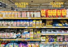 Shelves with a various gluten free products from different manufacturers