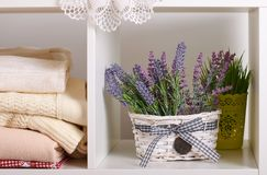 Shelves with various things in the room - flowers, knitted blankets stock image