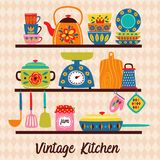 Shelves with vintage utensils stock illustration