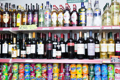 Shelves with vodka, beer and soft drinks Royalty Free Stock Photography