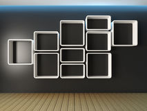 Shelves wall design Royalty Free Stock Images
