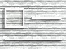 Shelves on white brick wall. Fragment of the interior. Vector architectural background Royalty Free Stock Photos