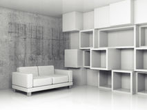 Shelves and white leather sofa, 3d illustration. Abstract interior, concrete office room with white cubic relief decoration on the wall and black leather sofa vector illustration