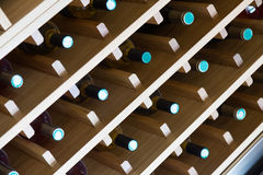 Shelves with wine bottles Royalty Free Stock Photos