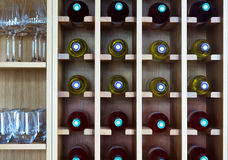 Shelves with wine bottles Royalty Free Stock Image