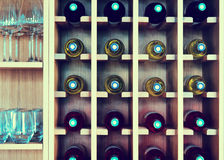 Shelves with wine bottles Stock Photography