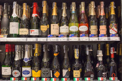 Shelves with wine in Central Festival Pattaya Beach mall. Pattaya, Thailand Royalty Free Stock Photography