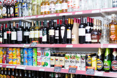 Shelves with wine, vodka and soft drinks. BARCELONA, SPAIN - MARCH 22, 2015: Shelves with wine, vodka and soft drinks at beverage section of average Polish Royalty Free Stock Photo