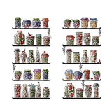 Shelves With Pickle Jars For Your Design Royalty Free Stock Photography