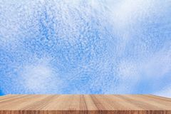 Shelves wood floor top empty with blue sky cloud vivid background stock photography