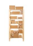 Shelves. Wooden shelves full of box Stock Photo