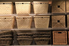 Shelves of woven baskets Royalty Free Stock Image