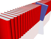 Shelving. 3d Render of various books in red. The selection is in blue Stock Images