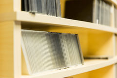 Shelving with cd records at radio station Royalty Free Stock Photography